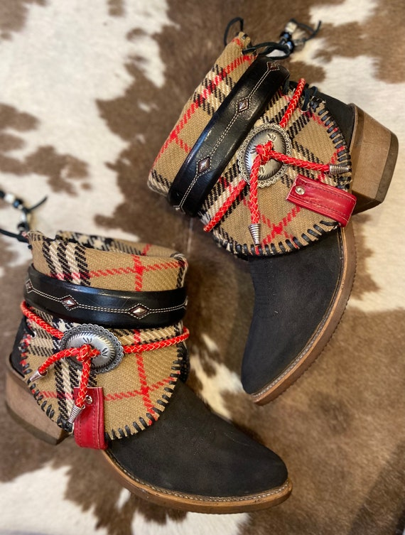 Vintage MIss Capezio Cowgirl Ankle Boots WIth Authintic Burberry Fabric SIze 9 to 9 1/2