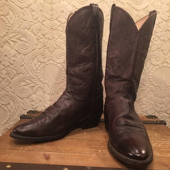 Dark Burgundy Dan Post Cowboy Boots men's size  10 1/2D
