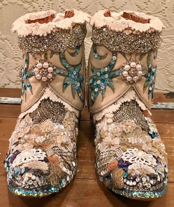 Embellished Bedazzled Custom Bridal Cowgirl Boots size 6