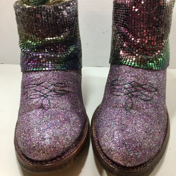 Rainbow Glittered Cowgirl booties with Mermaid Mesh size 8 1/2M