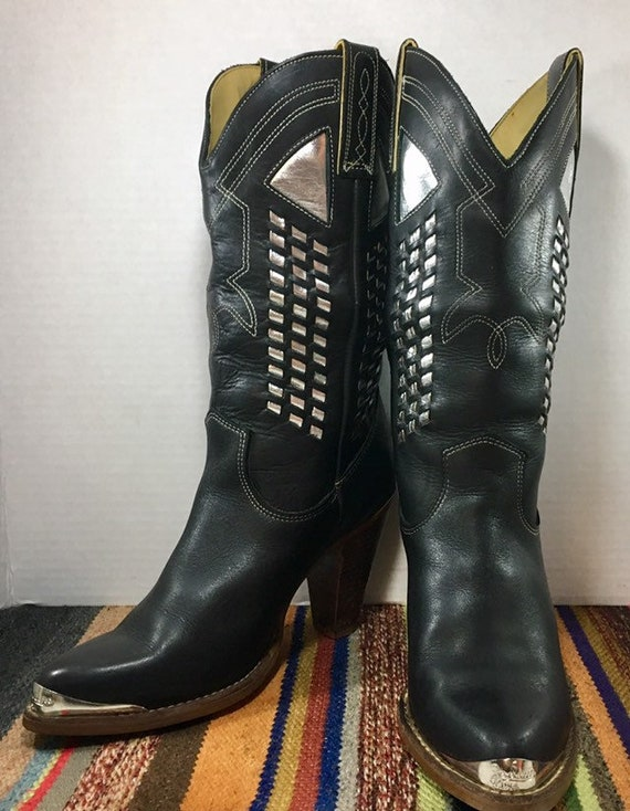 Black Leather Cowgirl Boots with Silver Inlays from Zodiac Boots women's size 7 1/2 M