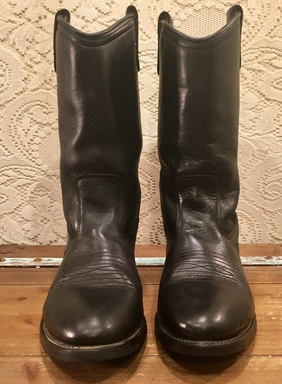 Black Leather Cowgirl Work Boots mens size 7 EE or women's size 8 1/2 wide