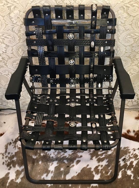 OOAK Leather Tooled Western Belt Folding Lawn Chair