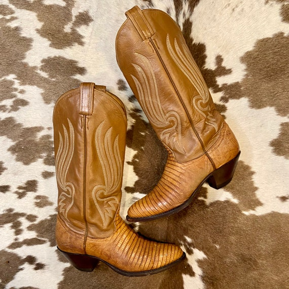 Exotic Tan Leather and Texas Lizard Black Label Tony Lama cowgirl boots size 7 C