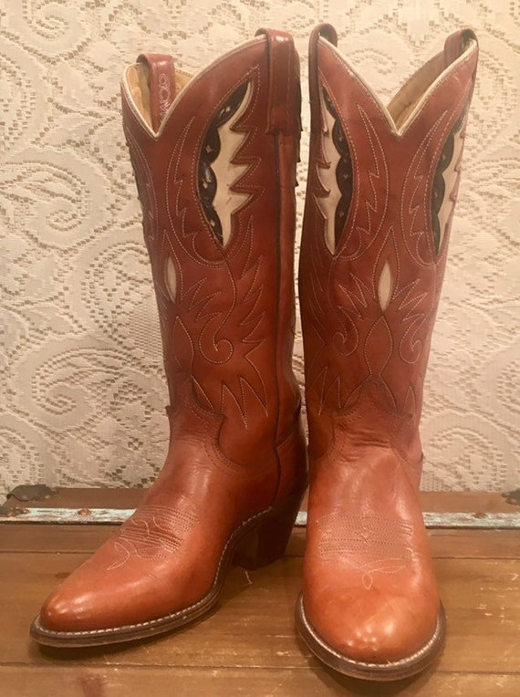 Tan Acme Cowgirl Boots with Feather Inlays size 5 1/2M