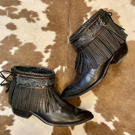 Handcrafted Leather Fringe Cowgirl Western Booties with Tooled Belt women's size 9 W