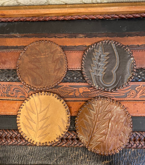 Handmade Leather Cowboy Boot Coasters Brown set of 4