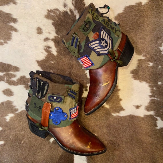 Handcrafted Vintage Acme Cowboy Cowgirl Western Ankle Boots with Military Patches men's 8 D women's 9 1/2 M