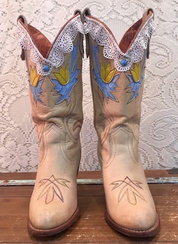 Vintage Miss Capezio Cowgirl Boots with Floral Inlays and lace size 7M