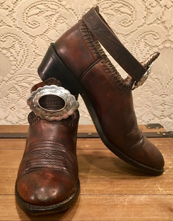 Handcrafted Whiskey Color Cowgirl Booties with belt and concho size 9 1/2