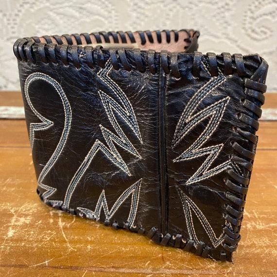 Handmade Black Leather Cowboy Boot Wallet
