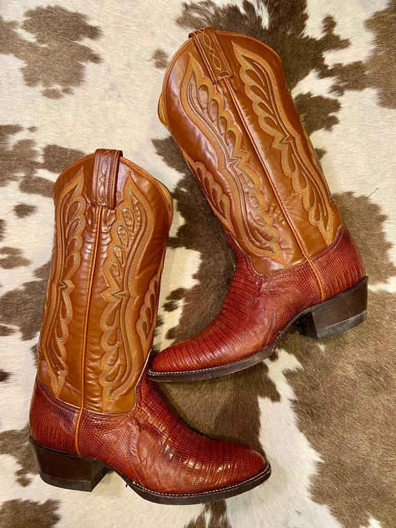 Tall Tony Lama Exotic Lizard and Whiskey Leather Gold Label Cowgirl Boots size 7 C