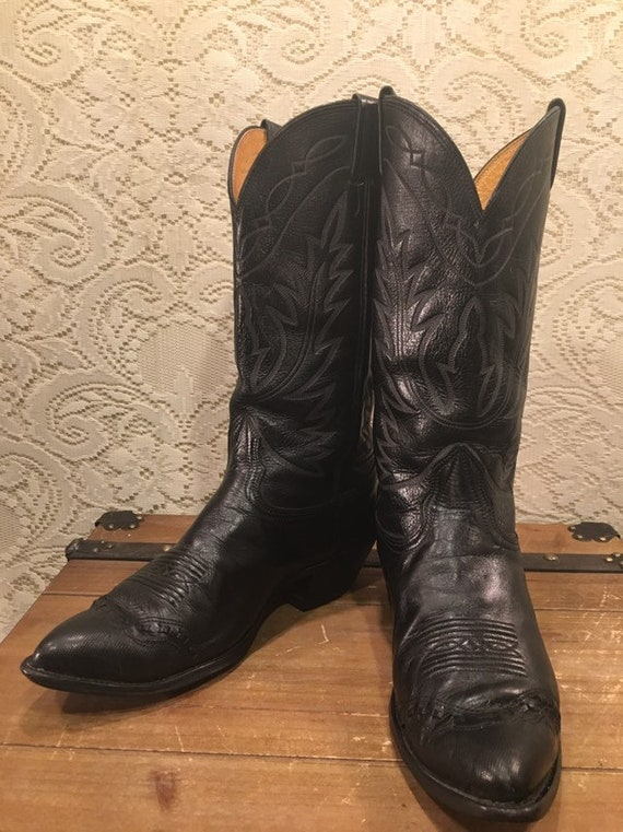 Black Leather Stiched Cowboy Boots with Wingtip from Nocona Boots  men's size 9 1/2 women's size 11