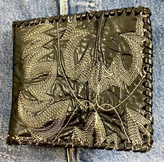 Vintage Cowboy Boot Black Leather Wallet