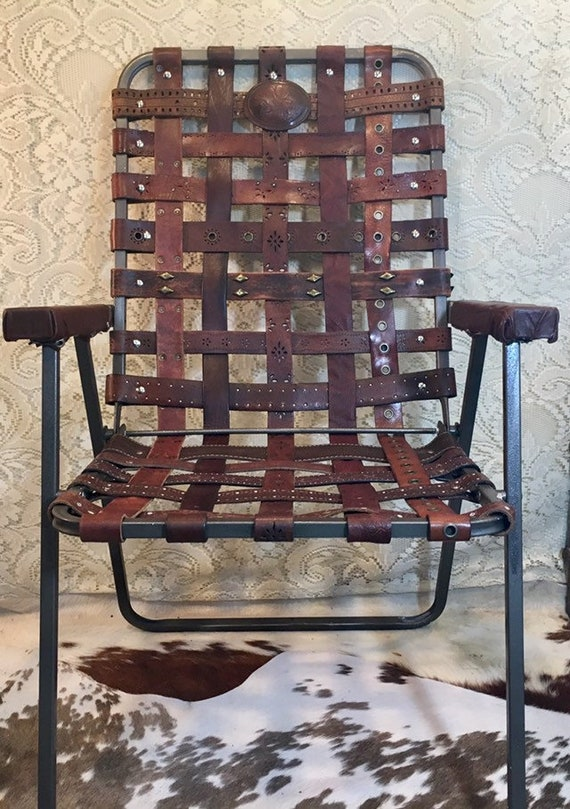 Vintage leather Western Tooled Belt Folding Lawn Patio Chair