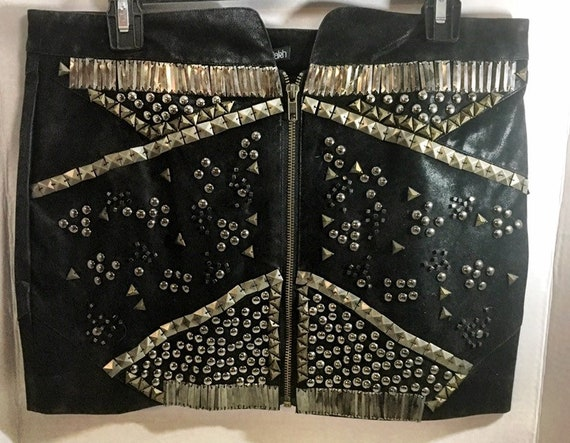 Black Faux Leather Studded Skirt  US size 8 Never Worn