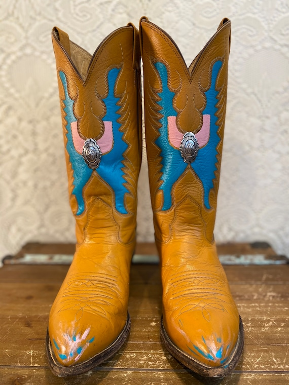 Hand Painted Mustard Leather Nocona Cowboy/Cowgirl Boots with Butterfly Vamps and Silver Conchos women's size 8 1/2 M to 9M