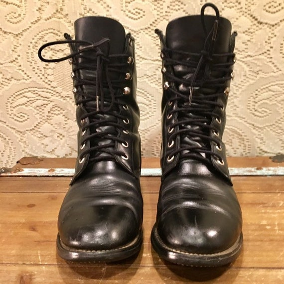 Black Leather Lace Up Granny Boots from Acme size 8 M