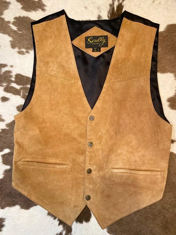 Tan Suede Sully Pearl Snap Vest men's size S women's size M/L