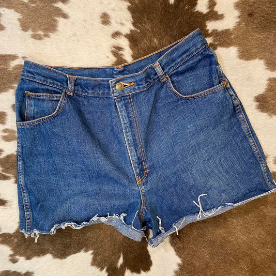 "Vintage Dark Rinse Gitano Cut Off Denim Blue Jean Shorts Waist 32"""
