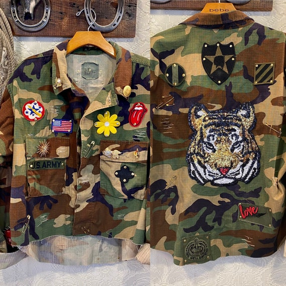 Handcrafted Vintage Military Camouflage Jacket Embellished with Tiger and Vintage Patches size Large to XL