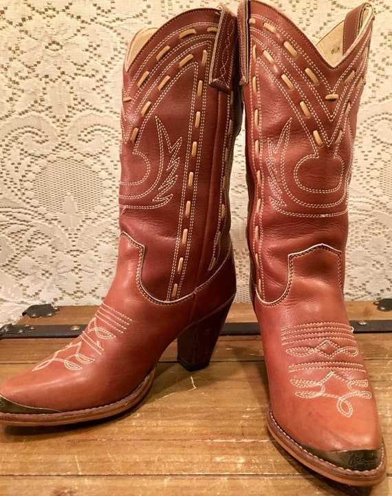 Brown Stiched Zodiac Cowgirl Boots size 6 1/2M