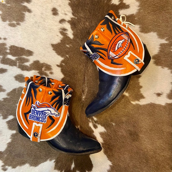 Handcrafted Denver Broncos Cowgirl Western Ankle Booties size 9 M