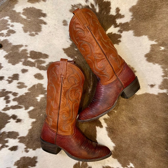 Brown Leather and Lizard Embossed Tony Lama Cowboy or Cowgirl Boots men's size 8 D women's size 9 1/2