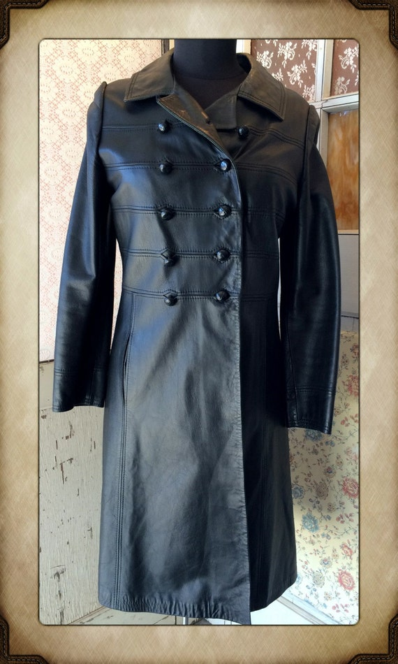 Super Sexy American Hustle Black Leather Trench Coat