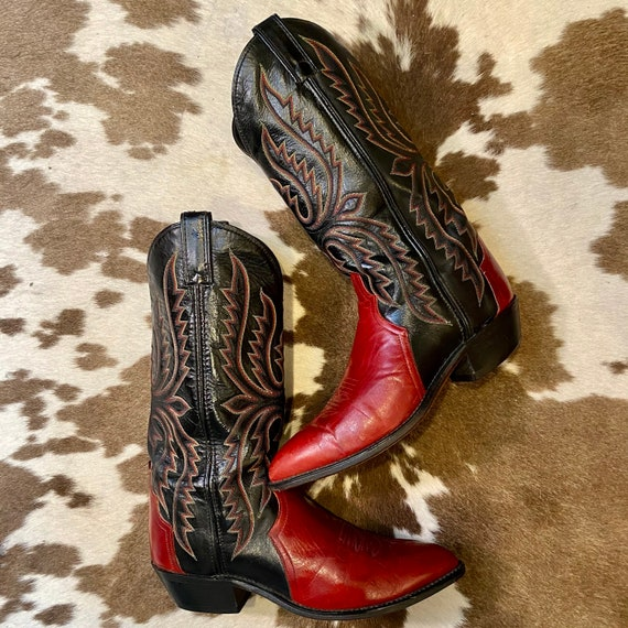 Red and Black Leather Vintage Code West Cowboy  Boots with fancy stitched vamps men's size 8 D women's size 9 1/2 to 10