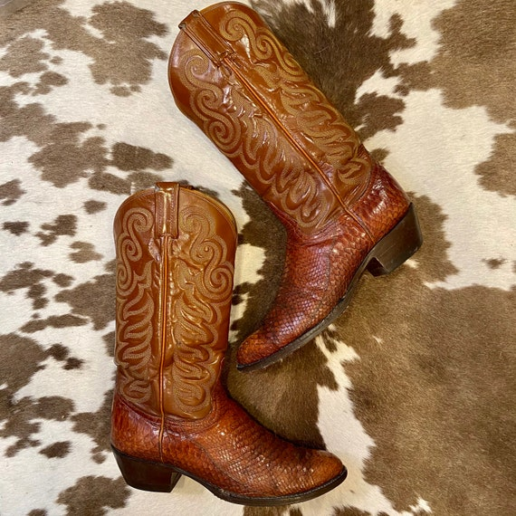 Vintage Whiskey Leather and Snakeskin 1970s Black Label Tony Lama Cowboy Boots men's size 9 1/2 D women's size 11