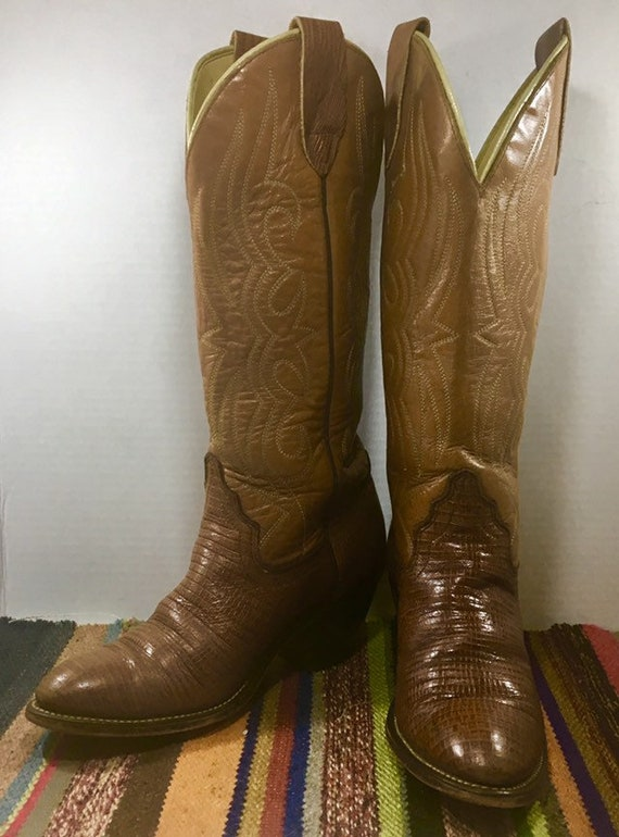 Tall Tan Acme Cowgirl Boots size 6 1/2