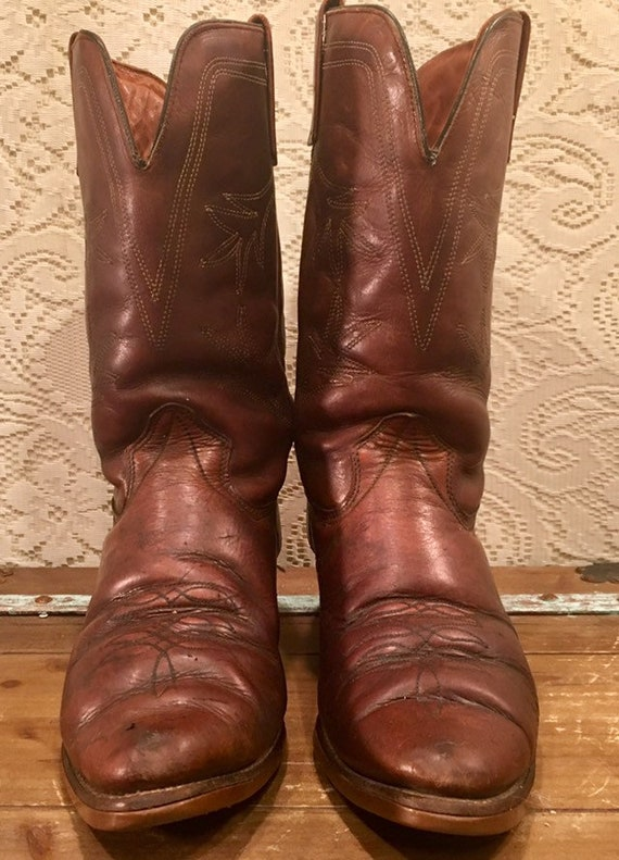 Brown Leather Texas Brand Cowboy Work Boots men's size 11EE