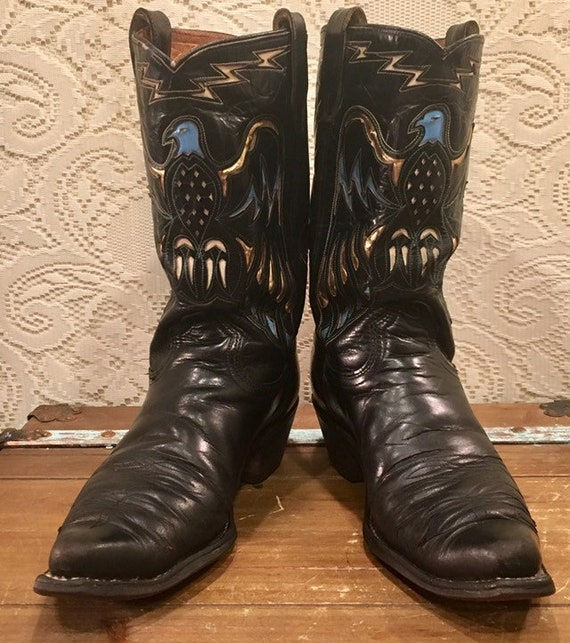 1960s Rare Black Leather Acme Cowboy boots with Phoenix Thunderbird Inlays men's size 9 D woman's size 11