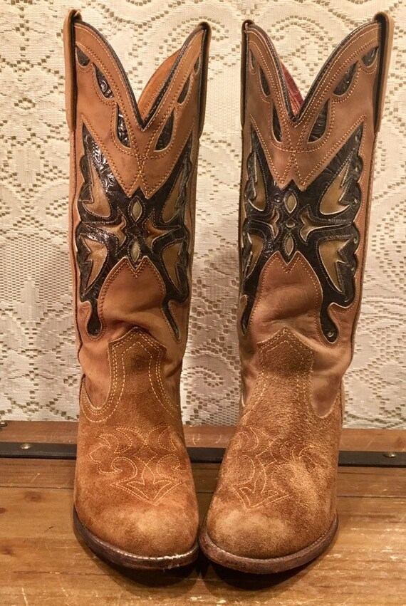 Tan Miss Capezio Cowgirl Boots with Butterfly Inlays size 7 1/2