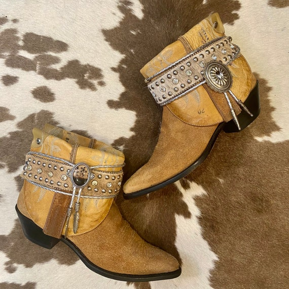Handcrafted Tan Suede Tony Lama Cowgirl Ankle Boots with Calfhair Rhinestone Belt and Conchos womens size 8 B