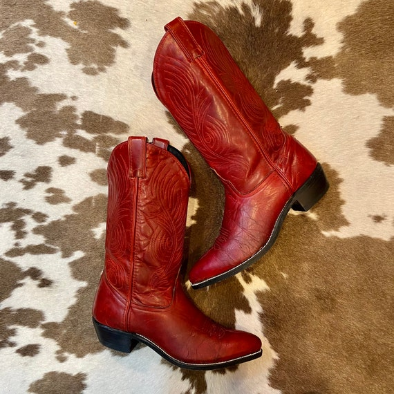 Red Leather Vintage Code West Cowgirl Boots women's size 8 M