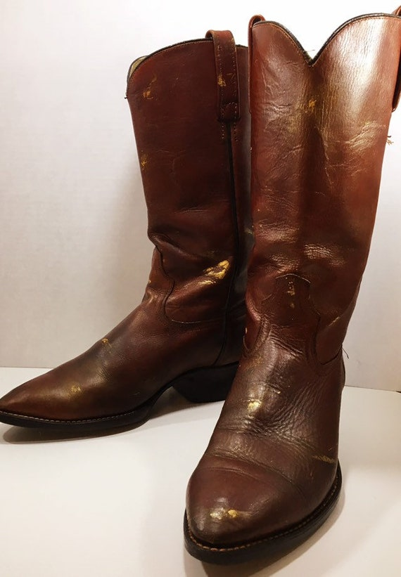 Gorgeous Hand painted Acme Whiskey Cowgirl Boots size 9 to 9 1/2
