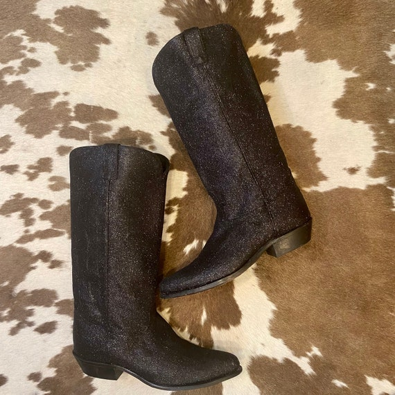 Tall Black Leather Glitter Sparkle Cowgirl Boots from Code West women's size 10 M