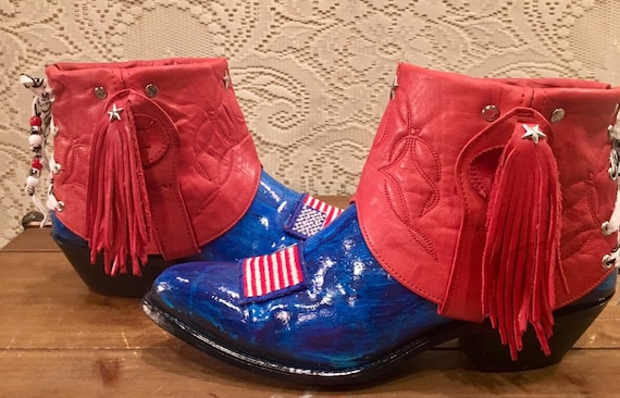 Hand Crafted and Painted Red, White and Blue Miss Capezio Cowgirl Booties size 7 1/2