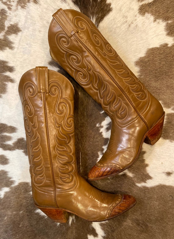 Tall Vintage Tan Leather Tony Lama Black Label Cowgirl Boots size 6