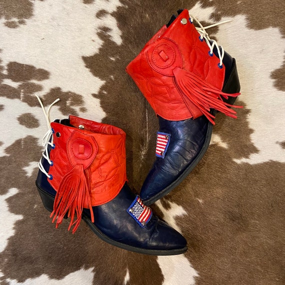 Handcrafted Red and Navy Leather Vintage Acme Cowgirl Ankle Booties with American Flags women's size 8 1/2 M
