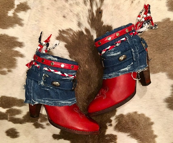 Red Hot Zodiac Americana Cowgirl Booties size 5 1/2