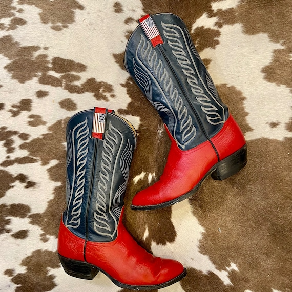 Hand Painted Red and Navy Leather Tony Lama Cowboy boots with American Flag Pins men's size 7 1/2 EE women size 9 Wide