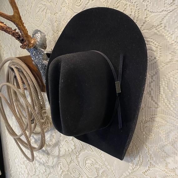 Black XXX Fir Felt Larry Mahan Western Cowboy Hat size 7 1/2