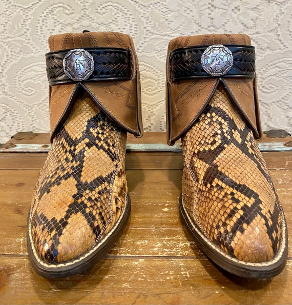 Hand Crafted Exotic Genuine Snakeskin Cowboy Cowgirl Ankle Booties from Acme women's size 10 M