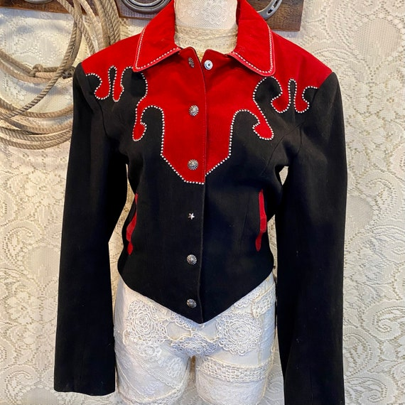 Vintage western Red Suede and Black Denim Studded Jacket women's size 8