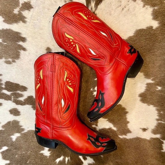 1960's Red Leather Acme Cowgirl Western Boots with Inlays and Wingtips size 9 M