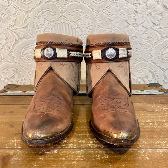 Handcrafted Brown and Beige Nocona Western Cowgirl Ankle Booties women's size 8 1/2 M