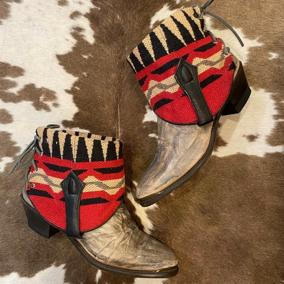 Handcrafted Vintage Leather Cowgirl Ankle Booties with Southwestern Fabric women's size 11 M